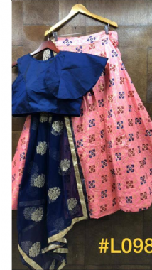 Funky Pink Lehenga With Blue Blouse